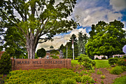 Western Carolina University Framed Prints - Mars Hill College Sign Framed Print by Ryan Phillips