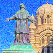 Byzantine Digital Art Prints - Marseille Cathedral Painting Print by Antony McAulay