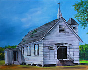 Churches Painting Originals - Marsh Berea Church Leflore County MS by Karl Wagner