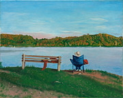 Paintings Available As Prints - Marsh Creek Western Shore Sunset in October by Phillip Compton