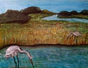 North Sea Paintings - Marsh landscape by Asuncion Purnell