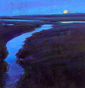 Kayaking Pastels Posters - Marsh Moon Poster by Ed Chesnovitch