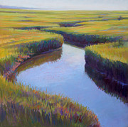 Yellows Pastels Prints - Marsh Rythmn Print by Ed Chesnovitch
