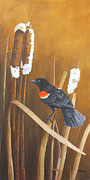 Cattail Paintings - Marsh Song - Red-winged Blackbird by Johanna Lerwick