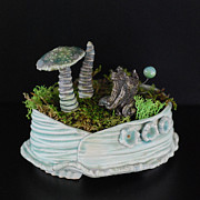 Featured Ceramics Posters - Marsha Neal Studio Ceramic Terrarium Sculptures May 3 Bellefonte Arts Poster by Marshe Neal Studio