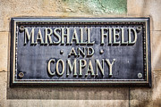 Brass Framed Prints - Marshall Field and Company Sign in Chicago Framed Print by Paul Velgos