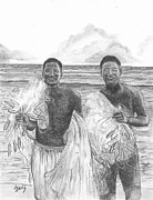 Net Drawings Posters - Marshall Islands Fishermen Poster by Lew Davis