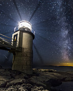 Perseid Photo Prints - Marshall Light house and the Night Sky Print by John Vose