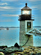 Maine Shore Originals - Marshall Point Light And Boat by Carolyn Fletcher