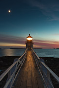 Waxing Crescent Framed Prints - Marshall Point Light at Twilight I Framed Print by Clarence Holmes