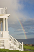 Keepers House Photos - Marshall Point Lighthouse And Rainbow in Maine by Keith Webber Jr