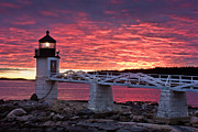 New England Lighthouse Prints - Marshall Point Sunset Print by Benjamin Williamson