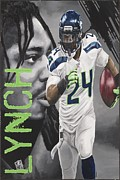Nfl Sports Paintings - Marshawn Lynch by Dustin Handy