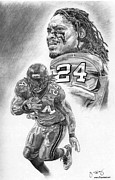 Hall Of Fame Drawings Framed Prints - Marshawn Lynch Framed Print by Jonathan Tooley