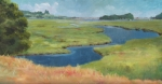 Gold Lime Green Art - Marshes at High Tide by Claire Gagnon