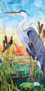 Blackbird Mixed Media Metal Prints - Marshland Moring Metal Print by Patricia Henderson