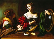 Caravaggio Paintings - Martha and Mary Magdalene by Pg Reproductions