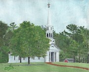 Sudbury Ma Painting Metal Prints - Martha Mary Chapel Metal Print by Cliff Wilson