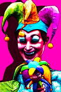 Spooky Digital Art - Marti Gras Carnival Clown 20130129v2 by Wingsdomain Art and Photography
