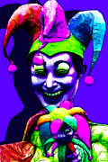 Spooky  Digital Art - Marti Gras Carnival Clown 20130129v3 by Wingsdomain Art and Photography