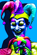 Spooky  Digital Art - Marti Gras Carnival Clown 20130129v4 by Wingsdomain Art and Photography