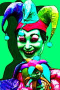 Spooky  Digital Art - Marti Gras Carnival Clown 20130129v5 by Wingsdomain Art and Photography