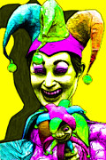 Spooky  Digital Art - Marti Gras Carnival Clown 20130129v6 by Wingsdomain Art and Photography