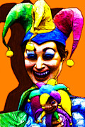Spooky  Digital Art - Marti Gras Carnival Clown 20130129v7 by Wingsdomain Art and Photography