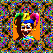 Jester Posters - Marti Gras Carnival Jester Abstract Window 20130129v1 Poster by Wingsdomain Art and Photography