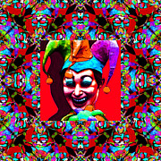 Jester Posters - Marti Gras Carnival Jester Abstract Window 20130129v2 Poster by Wingsdomain Art and Photography