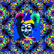 Humour Posters - Marti Gras Carnival Jester Abstract Window 20130129v5 Poster by Wingsdomain Art and Photography