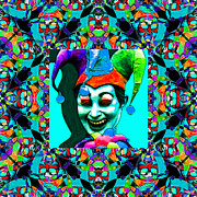 Humour Posters - Marti Gras Carnival Jester Abstract Window 20130129v6 Poster by Wingsdomain Art and Photography