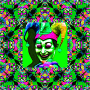 Jester Posters - Marti Gras Carnival Jester Abstract Window 20130129v7 Poster by Wingsdomain Art and Photography