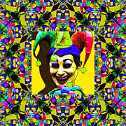 Jester Posters - Marti Gras Carnival Jester Abstract Window 20130129v8 Poster by Wingsdomain Art and Photography