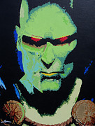 Patriotic Painting Originals - Martian Manhunter - A Close Encounter by Kelly Hartman
