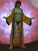 Green Skin Digital Art - Martian Priestess by Mike Heywood