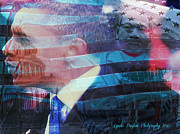 Politics Prints Digital Art Prints - Martin and Obama Print by Lynda Payton