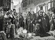 Protestant Framed Prints - Martin Luther 1483 1546 Publicly Burning the Popes Bull in 1521  Framed Print by English School