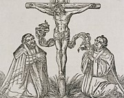 Scene Drawings Framed Prints - Martin Luther and Frederick III of Saxony kneeling before Christ on the Cross Framed Print by German School
