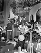 Martin Luther King Prints - Martin Luther King Jnr 1929 1968 American black civil rights campaigner in the pulpit Print by James Earl Ray