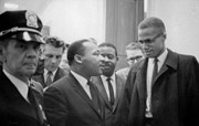 Press Conference Prints - Martin Luther King Jnr 1929-1968 and Malcolm X Malcolm Little - 1925-1965 Print by Marion S Trikoskor
