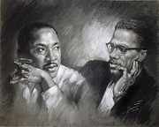 Martin Luther King Jr And Malcolm X Print by Ylli Haruni