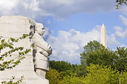 Martin Luther King Jr Posters - Martin Luther King Jr Memorial and the Washington Monument Poster by B Christopher