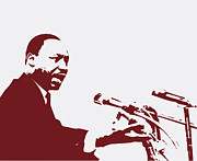 Martin Luther King Jr Posters - Martin Luther King Jr Speaking Poster by Billy Granneman