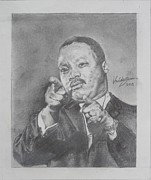 Martin Luther King Jr Drawings Prints - Martin Luther King Jr Print by Valdengrave Okumu