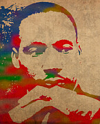 Martin  Luther Posters - Martin Luther King Jr Watercolor Portrait on Worn Distressed Canvas Poster by Design Turnpike