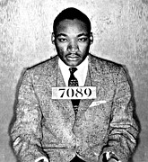 Mlk Framed Prints - Martin Luther King Mugshot Framed Print by Some Cracker