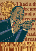 Linocut Prints - Martin Luther King Print by Sue Todd