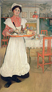 Larsson Prints - Martina Carrying Breakfast on a Tray Print by Carl Larsson
