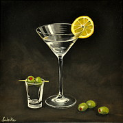 Liquid Painting Prints - Martini and Olives Print by Ambika Jhunjhunwala